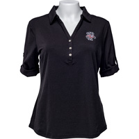 Cover Image For Cutter & Buck Women's Bucky Badger ¾ Sleeve Polo (Black)*