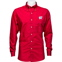 Image For Antigua Wisconsin Button Down Shirt (Red) *