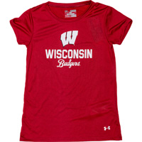 Image For Under Armour Girl's Wisconsin Badger T-Shirt (Red)*