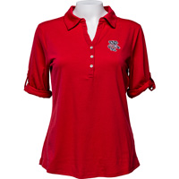 Image For Cutter & Buck Women's Bucky Badger ¾ Sleeve Polo (Red)