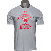 Cover Image For Under Armour Wisconsin Hockey T-Shirt (Gray) 3X