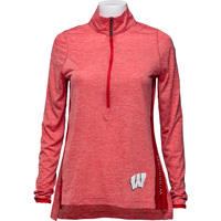 Image For Champion Women's Wisconsin ¼ Zip Long Sleeve (Red) *