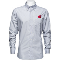 Image For Antigua Wisconsin Button Down Shirt (Gray) *