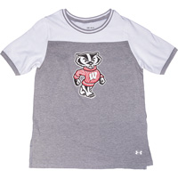 Image For Under Armour Youth Bucky Badger T-Shirt (Gray/White)*