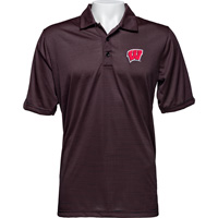 Image For Antigua Wisconsin Quest Polo (Black/Red) *