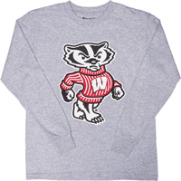 Image For Champion Youth Bucky Badger Long Sleeve T-Shirt (Gray)
