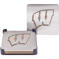Cover Image For Sportula Set of 4 Metal Wisconsin Coasters