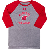 Image For Under Armour Youth Badgers Baseball Tee (Red/Gray)*
