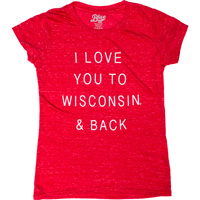 Image For Blue 84 Youth Love You to Wisconsin T-Shirt (Red)