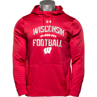 Image For Under Armour Wisconsin Football Hooded Sweatshirt (Red) 3X *