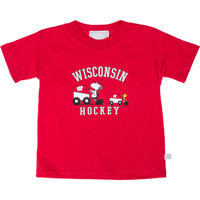 Image For Third Street Wisconsin Hockey Snoopy T-Shirt (Red)