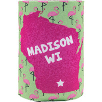 Cover Image For Neil Enterprises, Inc. Wisconsin Flamingo Coozie (G/P)