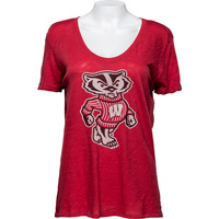 Image For '47 Brand Women's Bucky Badger Scoop Neck T-Shirt (Red)*