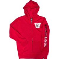 Cover Image For '47 Brand Youth Vault Bucky Badger Zip Sweatshirt (Red)