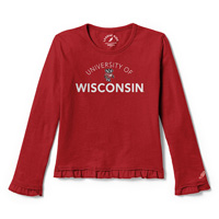 Cover Image For League Youth Ruffle UW Bucky Badger Long Sleeve Tee (Red) *