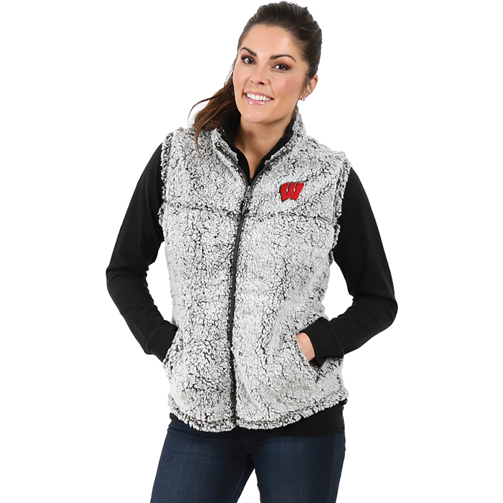 65b4f07af3eed6 Boxercraft Women's Wisconsin Sherpa Vest (Gray) | University Book Store