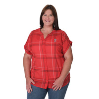 Image For UG Apparel Women's Wisconsin Dolman Plaid Shirt (Red) Plus *