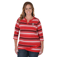 Image For UG Apparel Women's Plus Angled Hem Top (Red/Black/White)