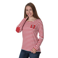 Image For UG Apparel Women's Elbow Patch Fleece Top (Red/White)