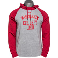 Image For Under Armour WI Ath. Dept. Hooded Sweatshirt (Red/Gray) 3X*