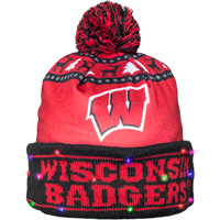 Image For FOCO Wisconsin Ugly Sweater Light-Up Hat (Red/Black)