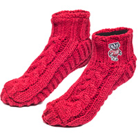 Image For Logofit Fleece Lined Wisconsin Knit Slippers (Red)