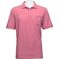 Image For Peter Millar Striped Shield Polo (Red/White)