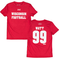 Image For Under Armour Youth WI Football JJ Watt T-Shirt 99 (Red)
