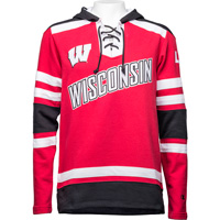 Image For Champion Wisconsin Hockey Hooded Sweatshirt (Red/Black)
