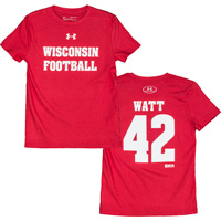 Image For Under Armour Youth WI Football TJ Watt T-Shirt 42 (Red) *