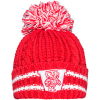 Cover Image For '47 Brand Women's Wisconsin Pom Pom Knit Hat (Red/White)