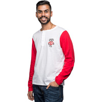 Cover Image For Alta Gracia Wisconsin Long Sleeve Baseball Tee (White/Red) *