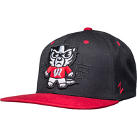 Image For Zephyr Tokyodachi Bucky Badger Flat Brim Hat (Black/Red)