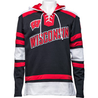 Cover Image For Champion Wisconsin Hockey Hooded Sweatshirt (Black/Red)*