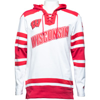 Image For Champion Wisconsin Hockey Hooded Sweatshirt (White/Red)*