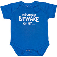 Cover Image For College Kids Wisconsin Beware Onesie (Royal Blue)