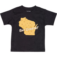 Image For College Kids Say Cheese Wisconsin T-Shirt (Black)