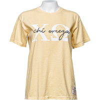 Cover Image For University Life Outfitters Chi Omega T-Shirt (Yellow)