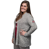 Cover Image For Chick-A-D Women's Bucky Badger Open Front Cardigan (Gray)