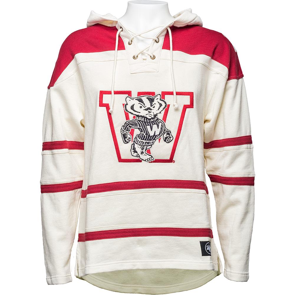 d0eaca0e 47 Brand Wisconsin Vault Hooded Sweatshirt (Cream/Red) | University ...