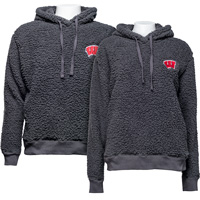 Cover Image For Boxercraft Wisconsin Sherpa Hooded Sweatshirt (Charcoal)*