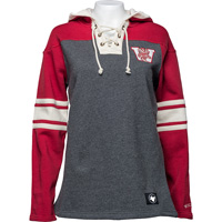 Image For '47 Brand Women's Wisconsin Vault Lace Up Hood (Gray) *
