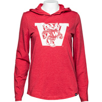 Cover Image For '47 Brand Women's Vault Wisconsin Hooded Long Sleeve (Red)*