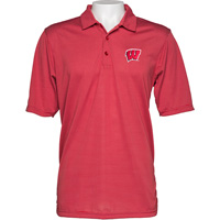Image For Antigua Wisconsin Striped Quest Polo (Red/White)