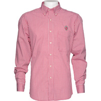 Image For Antigua Wisconsin Plaid Button Down Shirt (Red/White) *