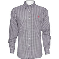 Image For Antigua Wisconsin Plaid Button Down Shirt (Black/White) Tall