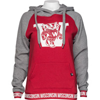 Image For '47 Brand Women's Wisconsin Vault Hoodie (Red/Charcoal)