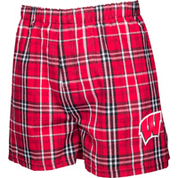 Cover Image For Boxercraft Wisconsin Plaid Flannel Boxer Shorts (Red)