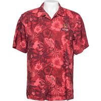 Image For Tommy Bahama Wisconsin Alumni Floral Camp Shirt (Red)