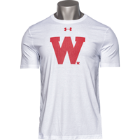 Cover Image For Under Armour Wisconsin W Performance Cotton T-Shirt (White)